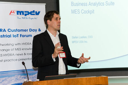 MPDV USA, Inc. CSO Dr. Stefan Loelkes delivers a presentation on the latest MES HYDRA technology at the MPDV Customer Day & Industrial IoT Forum 2018.