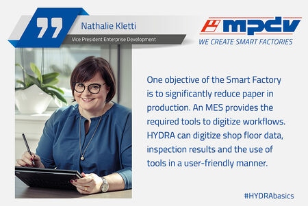 Expert statement of Nathalie Kletti, Vice President Enterprise Development at MPDV, about digital tools to reduce paper in production