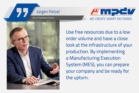 Jürgen Petzel, Vice President Sales at MPDV, encourages manufacturing companies to invest in an MES, in particular in times of low economic activity.