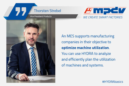 Expert statement of Thorsten Strebel, Vice President Products at MPDV about optimized machine utilization.